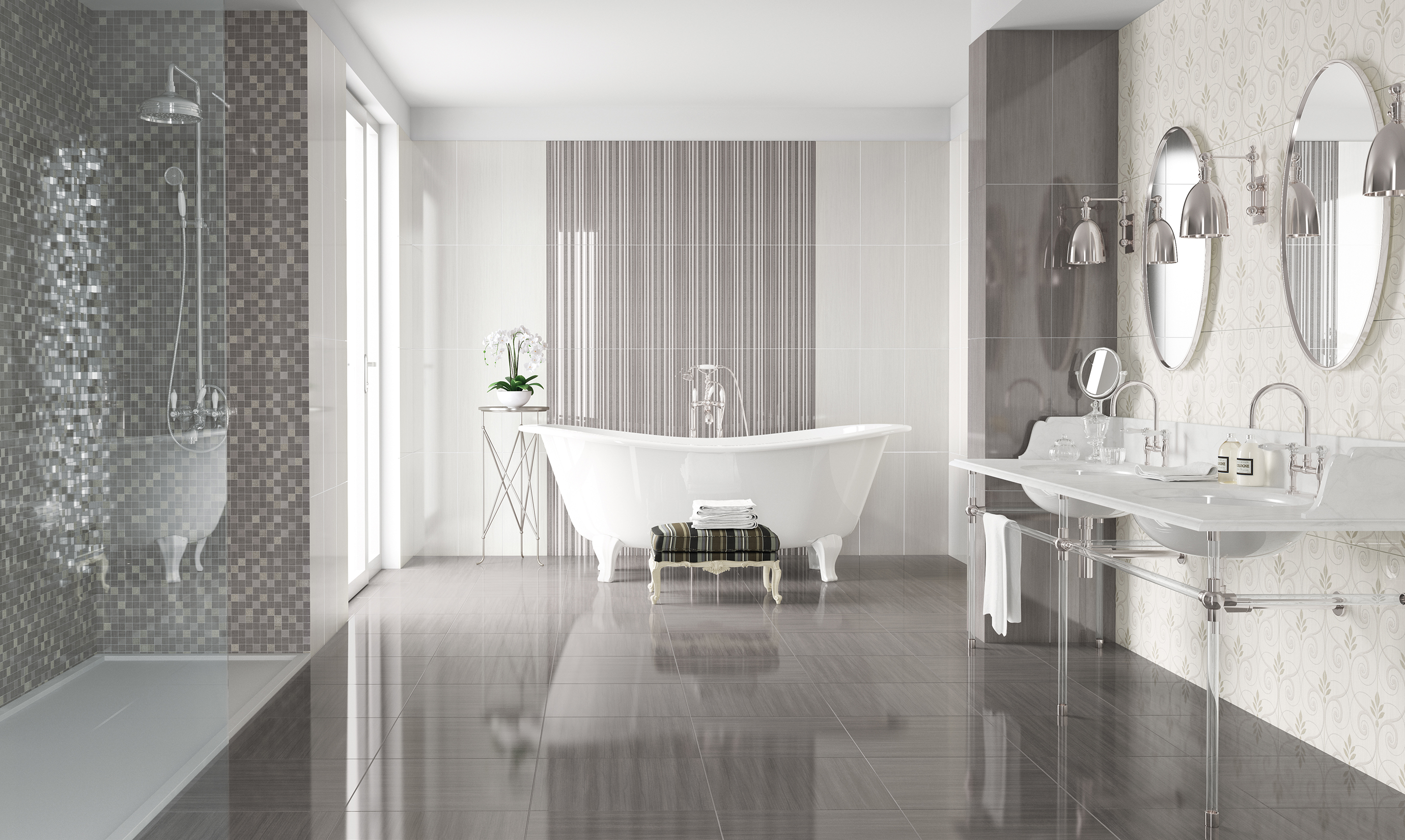 Bagno Con Mosaico Bianco soft – naxos ceramica